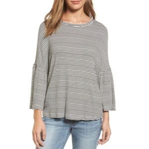 Caslon Blouse Striped Black/White Bell Sleeve S